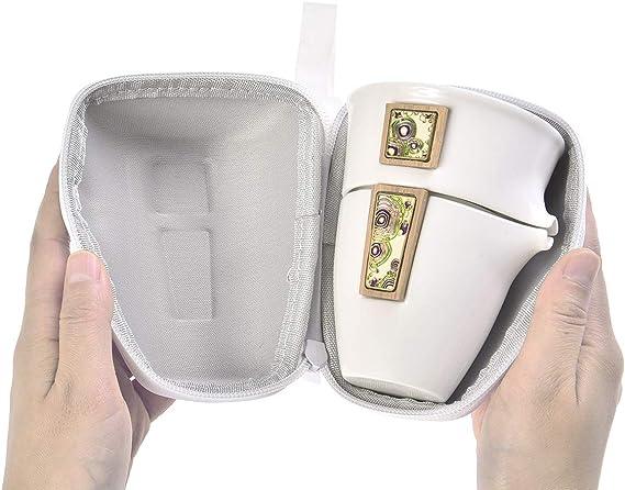Tetera, 2 Tazas, decantador y Bolsa de Viaje H-YXZ-02 5 Partes Hecho de Jade Blanco Quantum Abacus Deluxe Juego de t/é de Viaje