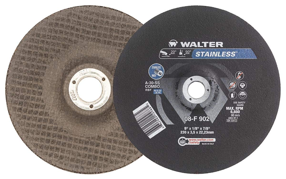 Walter 08F902 Stainless Grinding and Cutting Wheel - [Pack of 25] A-30-SS COMBO Grit, 9 in. Abrasive Wheel with Round Hole. Surface Finishing Tools