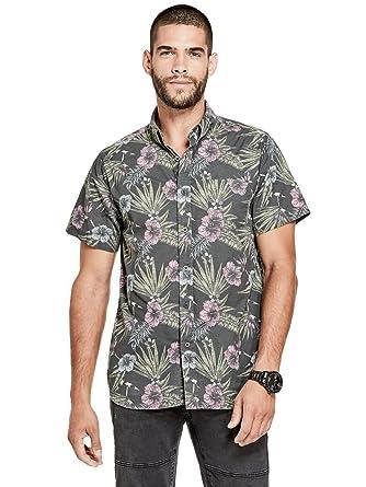 413a8515fbcb Amazon.com: G by GUESS Men's Tropical-Print Shirt: Clothing