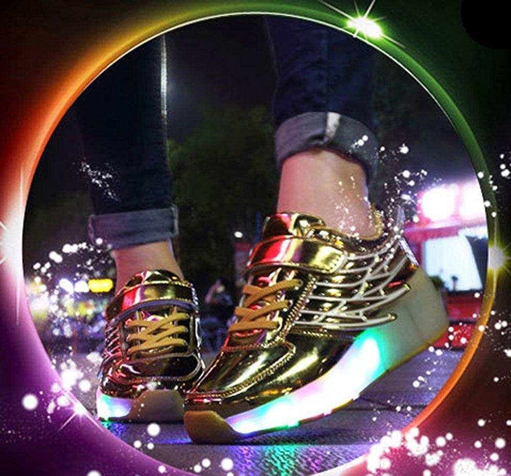edv0d2v266 Girls Boys Wing LED Light Sneakers Shoes With Wheel Kids Roller Skate Shoes(Gold 11.5 M US Little Kid) by edv0d2v266 (Image #3)