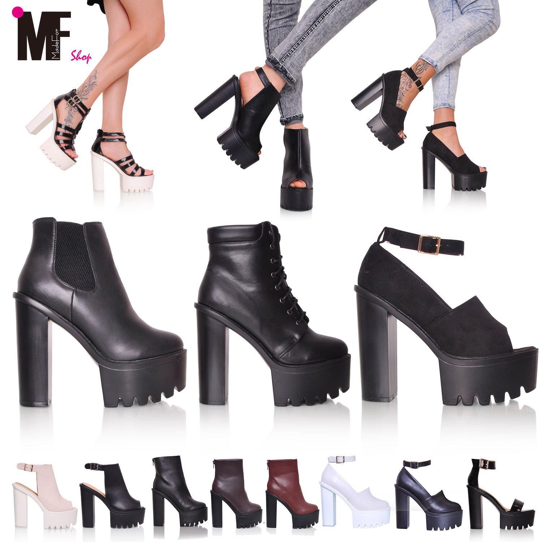 e9628b60d8227e MADE for shop - Scarpe Stivaletti Tronchetto Sandali Donna Carrarmato Track  Shoes Tacco 15 Mg602, Colore: White, Taglia: 37: Amazon.it: Scarpe e borse