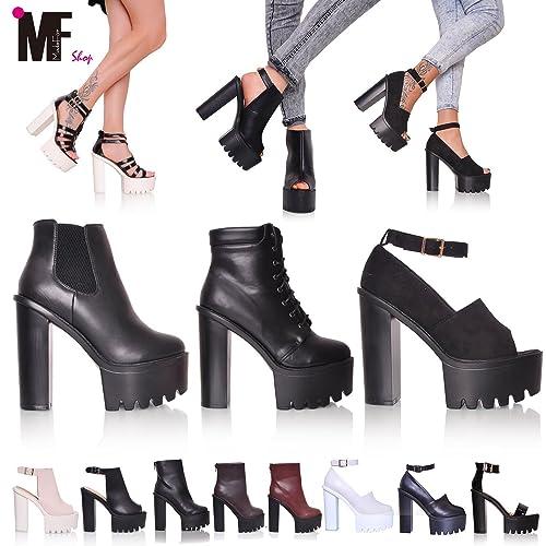 MADE for shop - Scarpe Stivaletti Tronchetto Sandali Donna Carrarmato Track Shoes  Tacco 15 Mg602 b3275fa6e2d