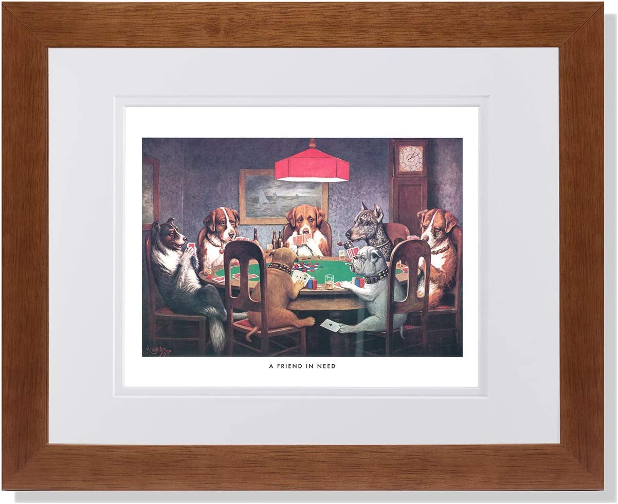 Size 24x36 DOGS PLAYING POKER FRAMED in Premium Black Wood Frame