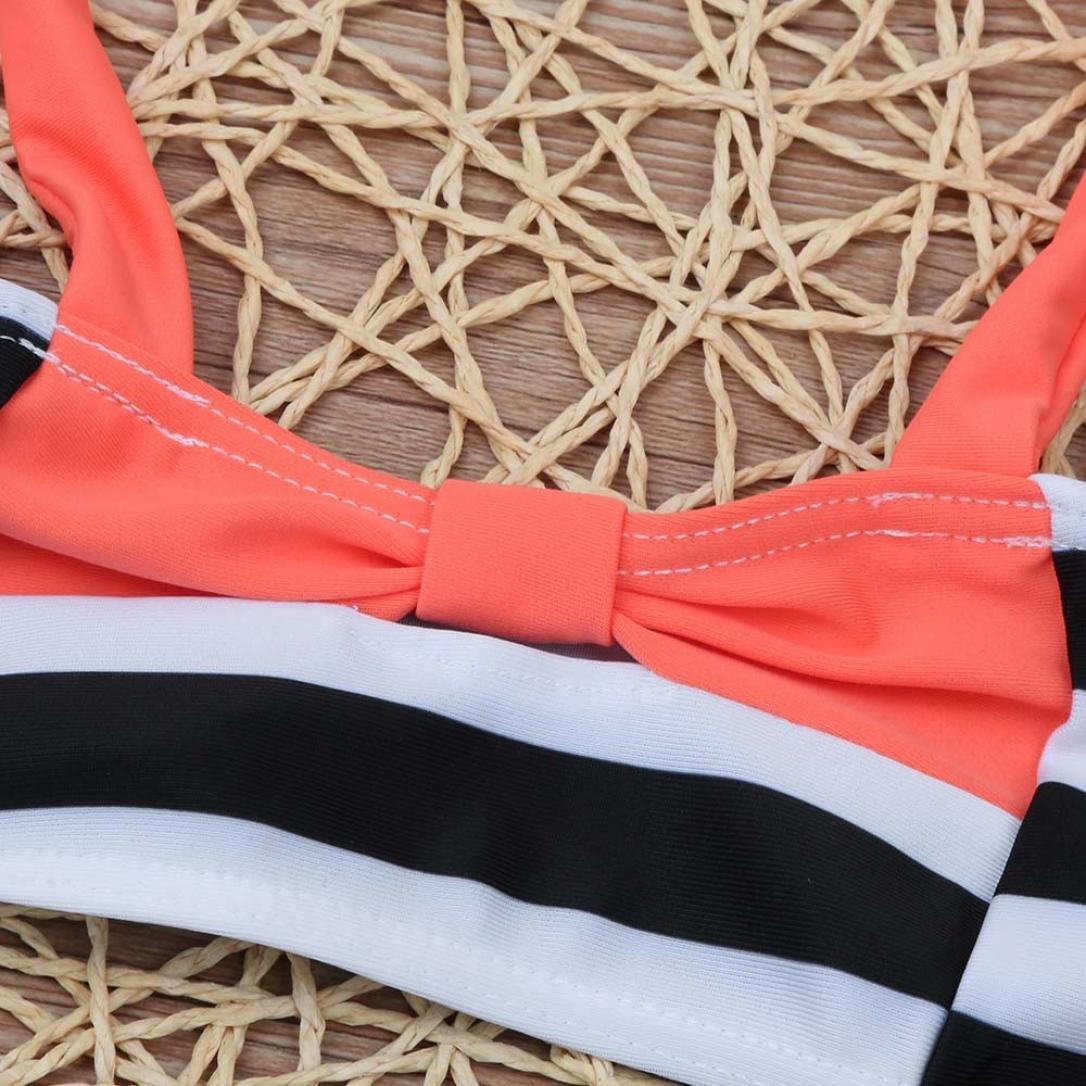 Fartido Baby Girls Cute Stripe Halter Swim Suit Infant Two-Pieces Swimsuit 0-5T