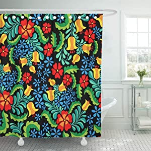 Sonernt Curtain Flower Ornate and Colorful Ethnic Pattern in Mexican Style Abstract Floral Folk Folklore Shower Curtain Bathroom Decor,Polyester Durable Waterproof Curtain