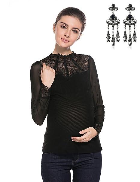 MODETREND Premamá Blusas Manga Larga Cuello Alto Camisas Encaje Camisola Camisetas Tops Otoño Primavera Mujer Mama