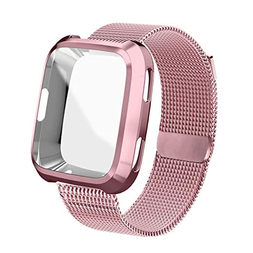 Uhkz Compatible Fitbit Versa Bands, Stainless Steel Mesh Milanese Sport Metal Wristband Loop Accessories For Women Men With Fitbit Versa Screen Protector Case Compatible Fitbit Versa Smartwatch by Uhkz