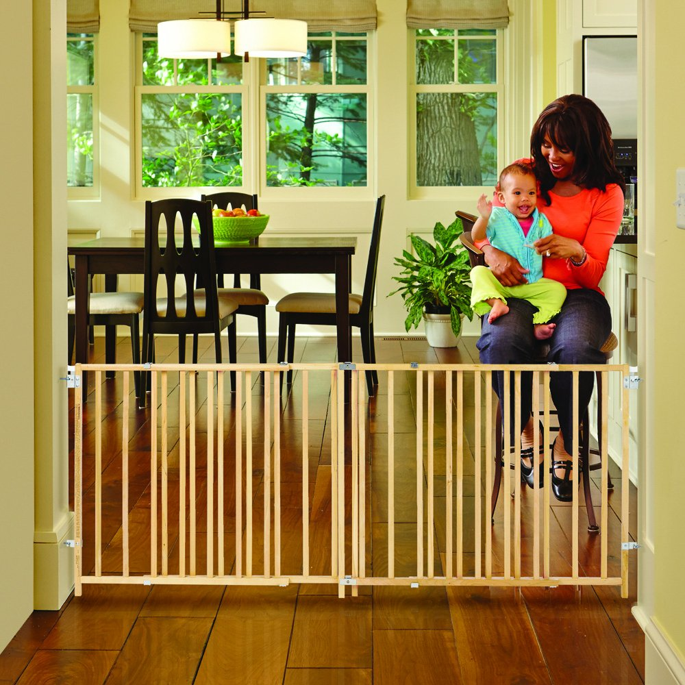''Extra-Wide Swing Gate'' by North States: Great for extra-wide openings, with no threshold and one-hand operation. Hardware mount. Fits openings 60'' to 103'' wide (27'' tall, Natural wood) by North States (Image #3)