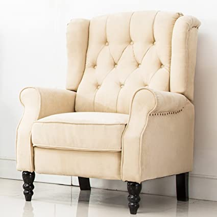 ComHoma Tufted Wingback Recliner Classic Armchair Elizabeth Queen Style  Club Chair (Beige)