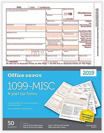 --/>/> NO Env 2 2019 IRS Tax Form 1099-MISC Carbonless for 6 recipients 1096