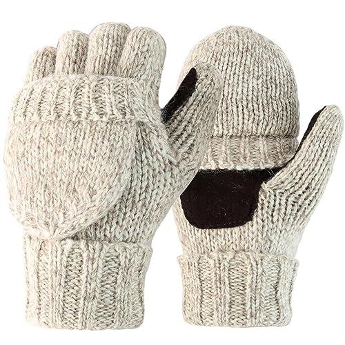 Novawo Guantes Mitones (hasta la midad del dedo) Unisexos Tejedos por Mix-lana con la Tapa de Terciopelo