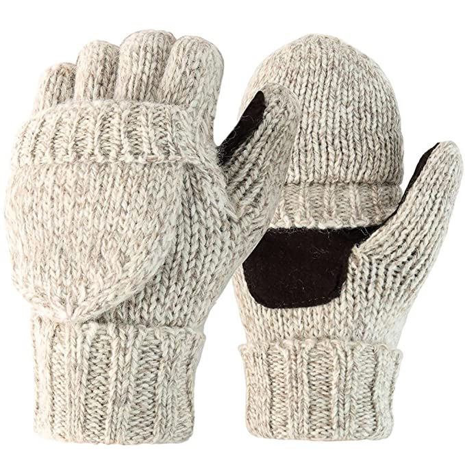 Novawo Wool Blend Knit Convertible Insulating Fingerless Gloves with ...