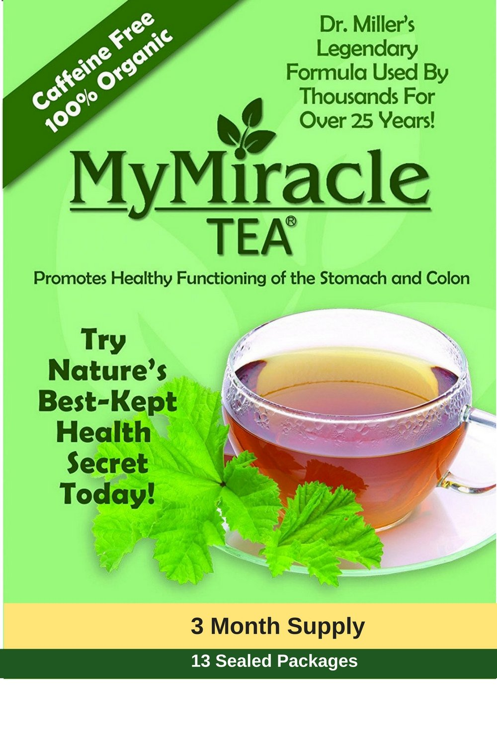 Dr. Miller's Holy Tea   My Miracle Tea Constipation Relief and Detox (3 Month Tea - Save $10 Discount)