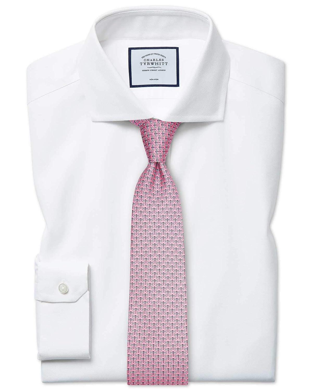 Chemise Blanche à Col Cutaway En Oxford Stretch Super Slim Fit Sans Repassage   Blanc (Poignet Simple)   14   33
