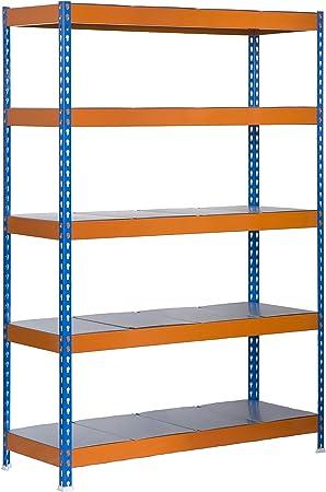 Estantería metálica de media carga Bricoforte 5 estantes Azul ...