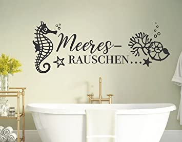 tjapalo® s-pkm410 Wandtattoo Badezimmer sprüche Meeresrauschen Seepferd  Wandspruch (B140 x H52 cm)