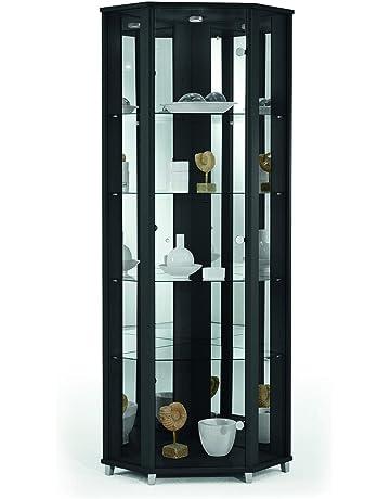 d926d1c02531 HOME Corner Display Cabinet Black with Mirror Back