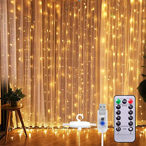Yesee Window Curtain String Light,300 LED 8 Lighting Modes Fairy Lights Remote Control USB Powered Waterproof Lights for Christmas Bedroom Party Wedding Home Garden Wall Decorations, Warm White
