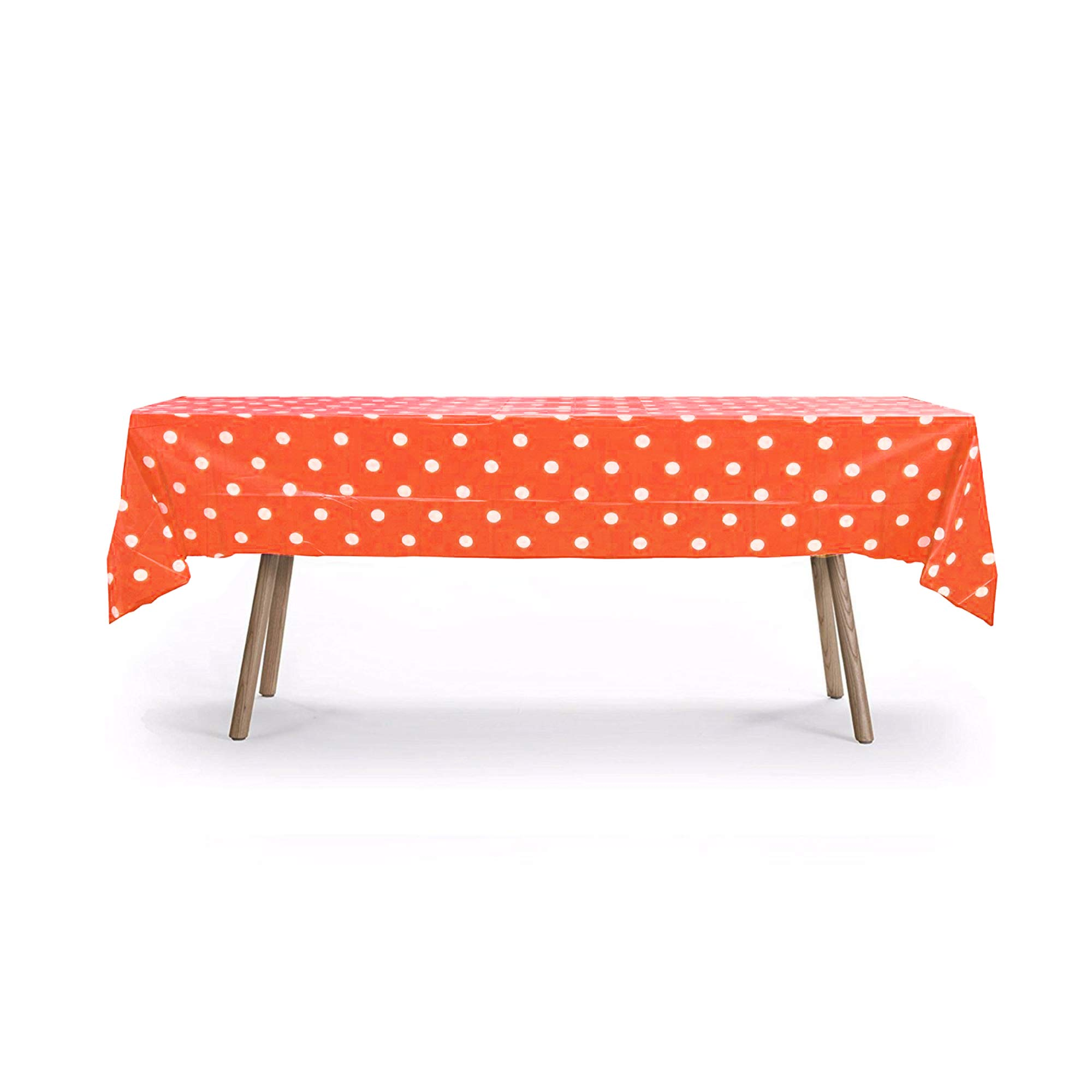 12 Packs of Polka Dot Table Cover, Plastic Rectangular Pool Patio Party Disposal Table Cover (Orange) by Gift Expressions