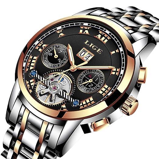 Relojes para Hombre Cronógrafo Impermeable reloj Mecánico Hombres Marca de Lujo LIGE Negocio Vestido para relojes Man Elegante Moda reloj de Pulsera de ...