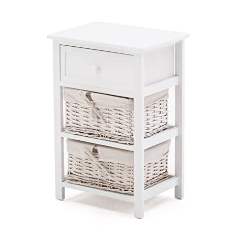 SUNCOO Retro White Shabby Chic Nightstand End Side Bedside Table W/Wicker  Storage Wood 1