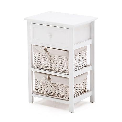 Beau SUNCOO Retro White Shabby Chic Nightstand End Side Bedside Table W/Wicker  Storage Wood 1