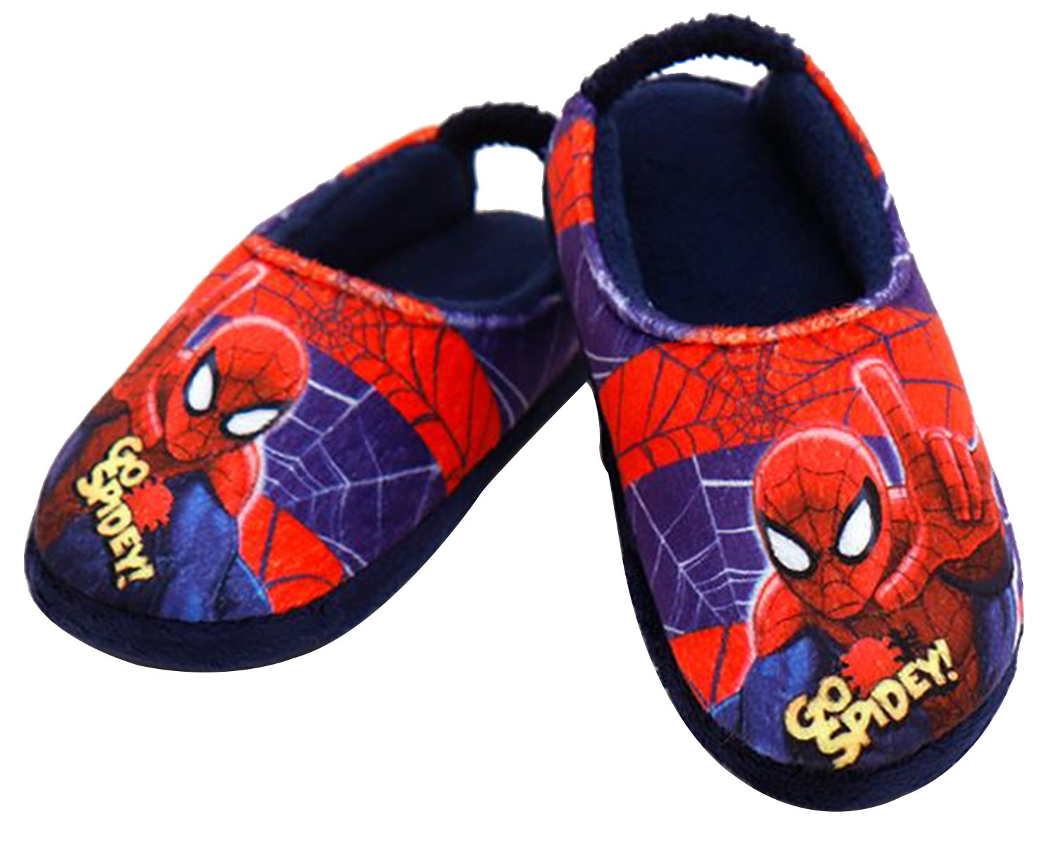 Joah Store Spider-Man Slippers for Boys Navy Red Warm Fur Clog Mule Indoor Shoes (8 M US Toddler, Spider-Man_B)