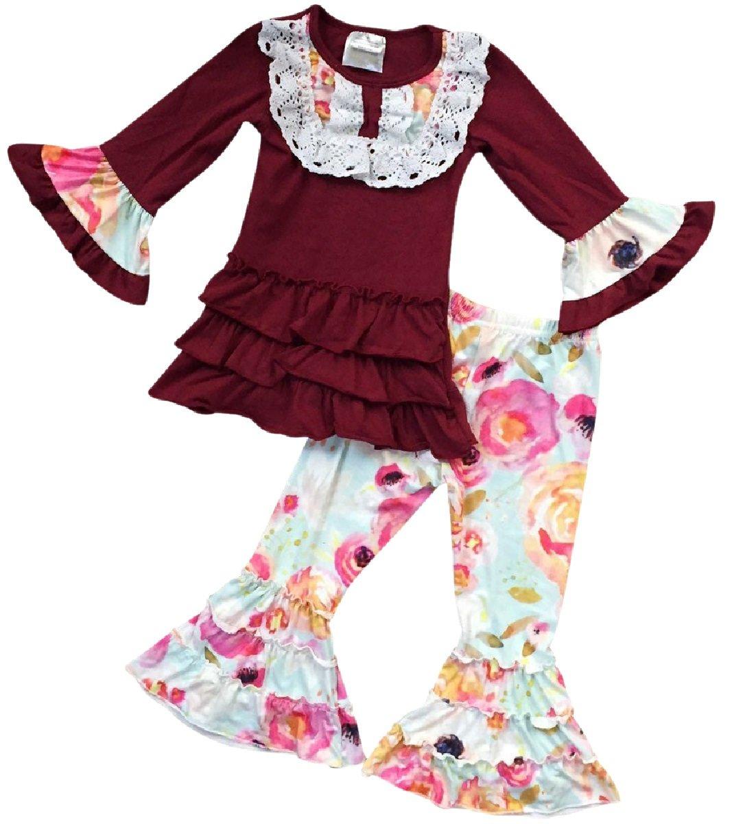 Little Girls 2 Pieces Set Long Sleeve Ruffle Shirt Floral Legging Pant Clothing Set Burgundy 4 M (201231)