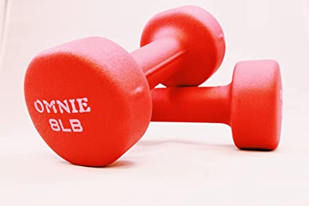 Omnie Dumbbells – Neoprene Non Slip Grip – Deluxe Body Building Sculpting Workout – Ideal for General Exercise, Comfortable Contoured Grips for Easy Use, for Both Men Women Set of 2