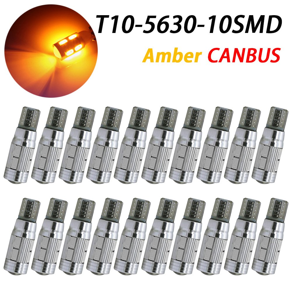 TABEN 7th Generation Newest, CANBUS Error Free T10 LED Light Bulb, Interior Lights for W5W 194 168 2825 T10 Wedge 10-smd 5730, Replacement and Reverse T10 Amber Bulbs (Pack of 10)