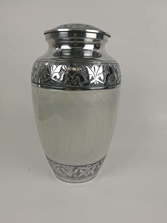 Dfs Large Silver White Ashes Urn Cremation Funeral Memorial