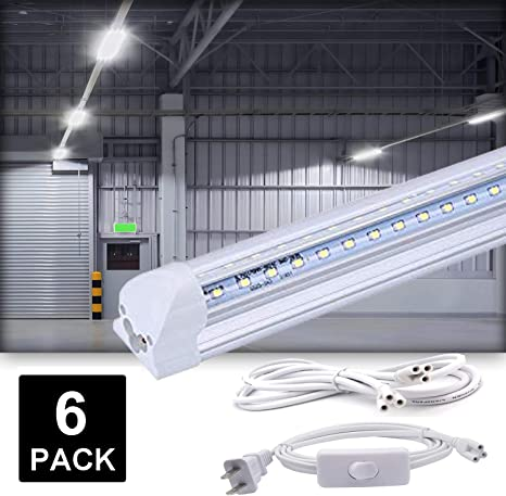 Daylight 6500K 6-Pack 8FT T8 LED Shop Light Fixture Clear Cover 60W V-Shaped Integrated Tube Light Under Cabinet and Ceiling Led Bulbs with ON//Off Switch Power Cords,Plug and Play