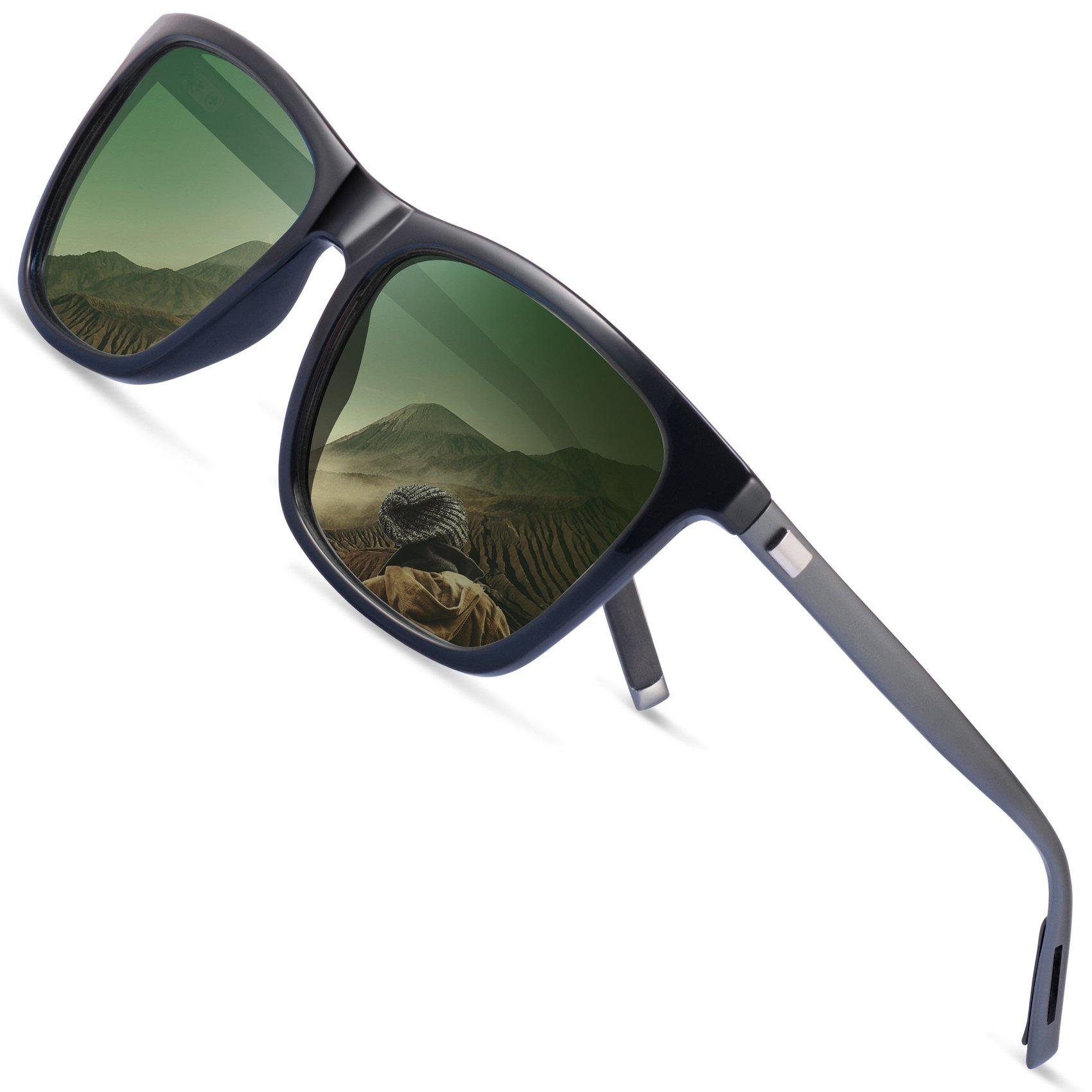 Polarized Wayfarer Sunglasses for Men - FEIDU HD Vision Polarized Sunglasses Mens FD9003 (green-9003, 2.08)
