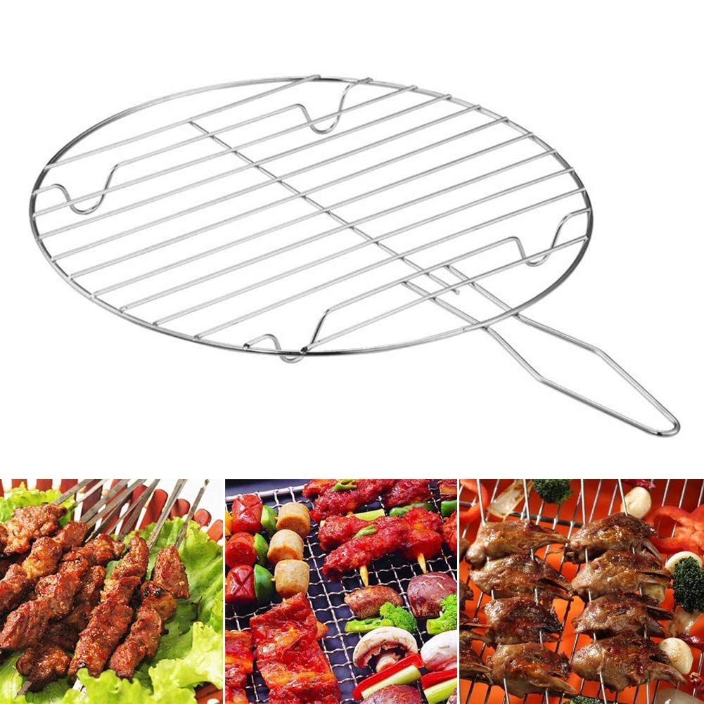 Round Shape Stainless Steel Grill Net Mesh Portable BBQ Foods Meat Fish Vegetable Racks For Camping Barbecue Outdoor Picnic TAKEMORE7 Barbecue Grilling Basket