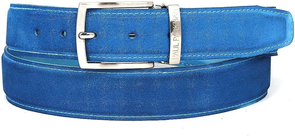 ID#B06-BLU PAUL PARKMAN Mens Blue Suede Belt
