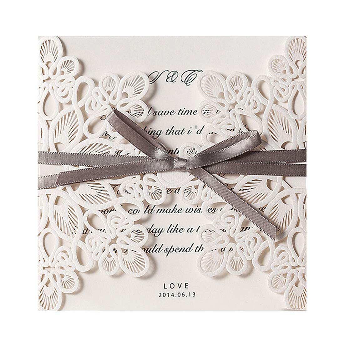 WISHMADE 50x Elegant Wedding Invitation Cards Kit with White Laser Cut Flower Lace Invitations Marriage Engagement Bridal Baby Shower Wedding Invites with Brown Ribbon, 50pcs