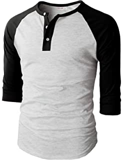 76a1aa44 H2H Mens Casual Premium Slim Fit T-Shirts Henley 3/4 Sleeve Summer Clothes