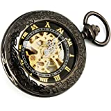 機械式,手巻き 懐中時計 kd5 ブラック×ゴールド (bl)