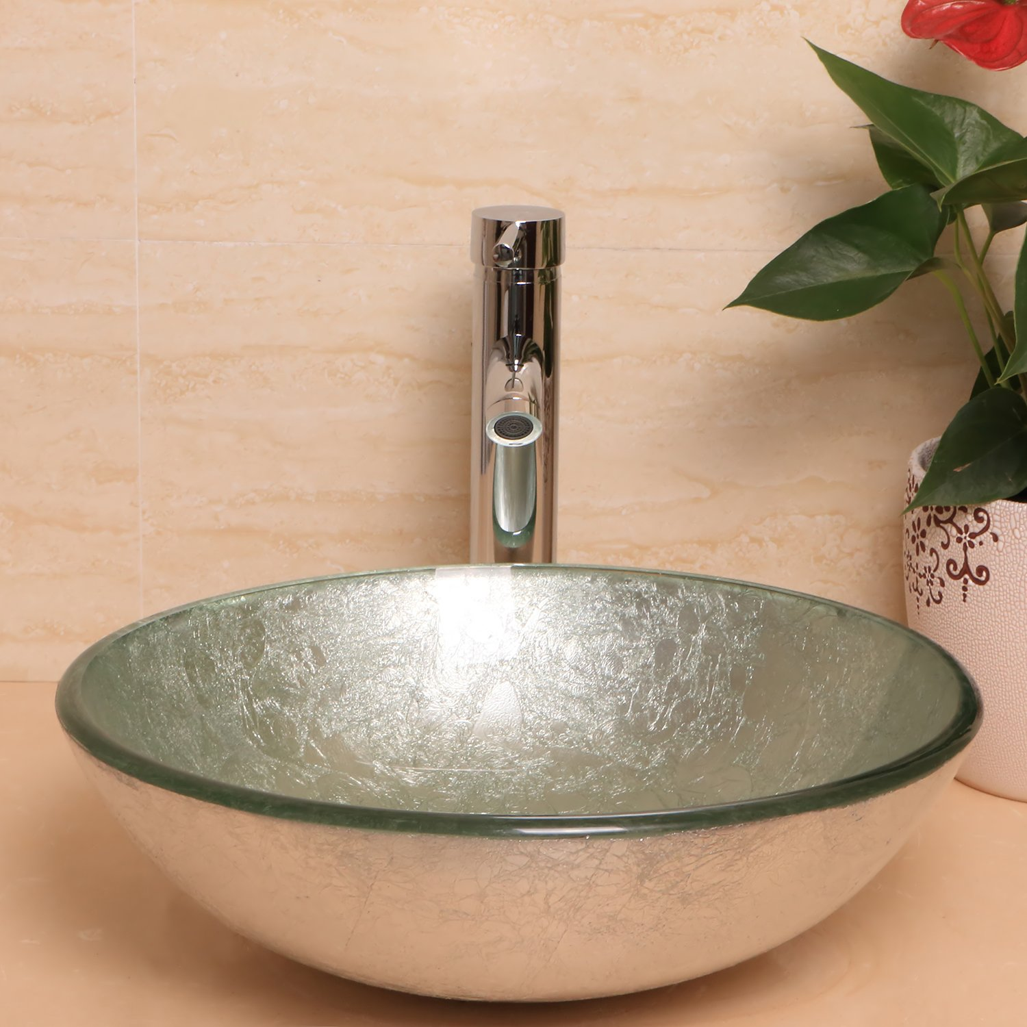 Sliverylake Silver Green Foil Bathroom Glass Vessel Sink Bowl With Chrome Faucet 80 Off Www A