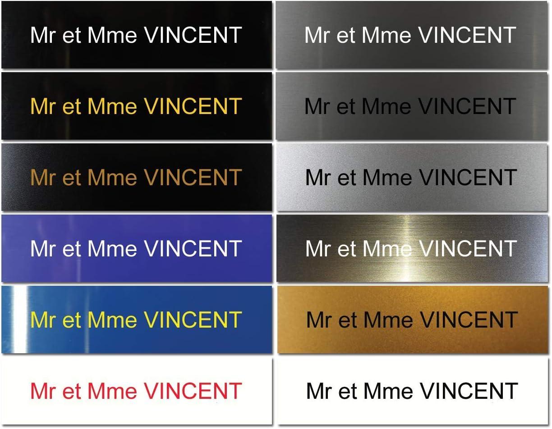 Noir Bross/é//Texte Jaune Plaque boite aux lettres adh/ésive PVC Plaque grav/ée /à personnaliser 10 x 2,5 cm 1 /à 3 lignes sans suppl/ément