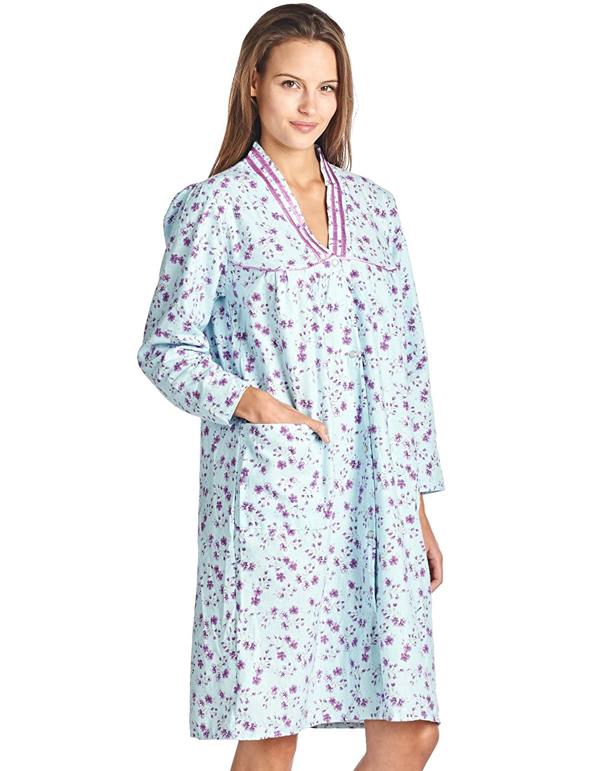 Casual Nights Women's Cotton Flannel 3/4 Sleeve Lounger House Dress Flanned Duster