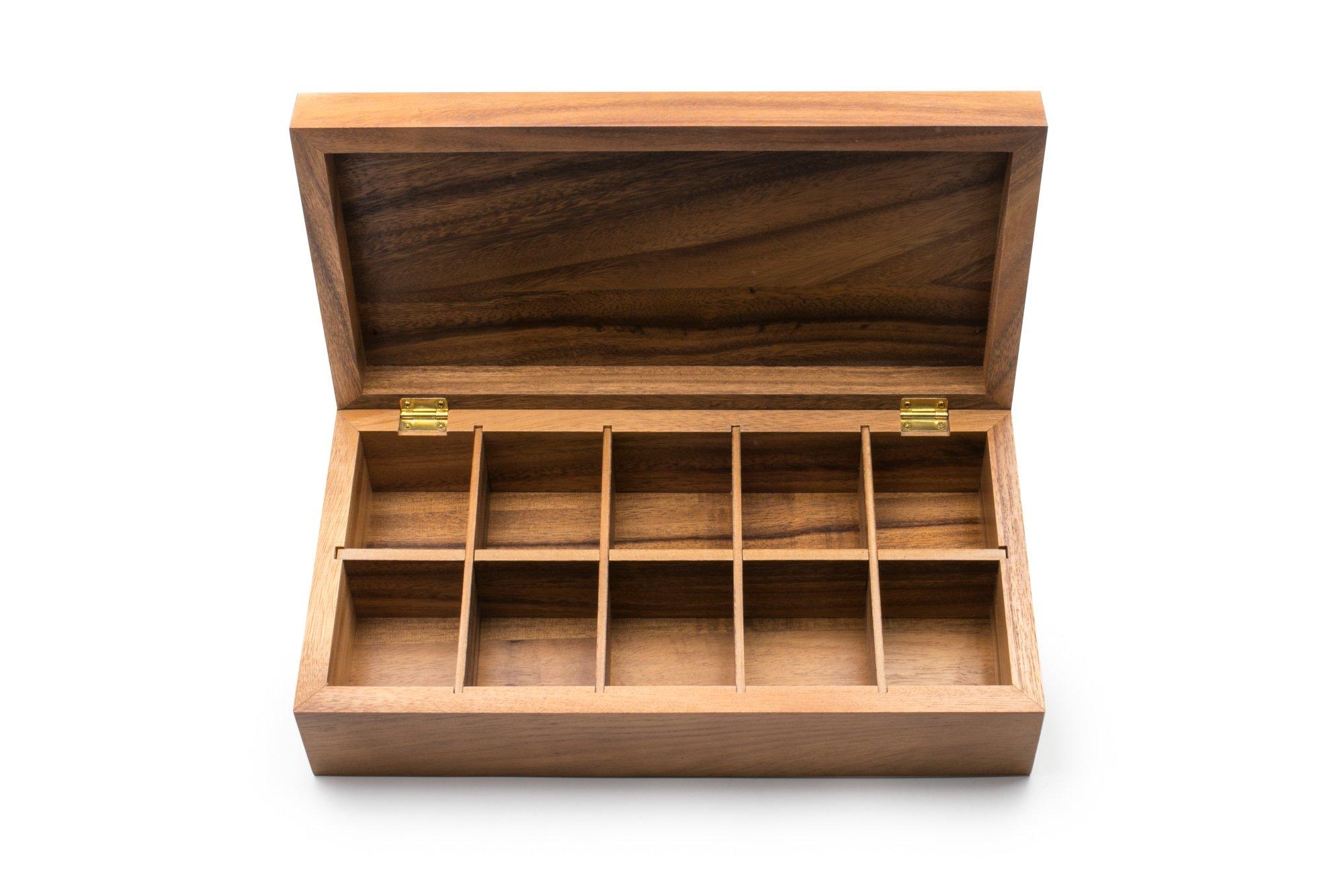 Ironwood Gourmet 28142 Rectangular Vauxhall Double Tea Box, Acacia Wood by Ironwood Gourmet (Image #2)