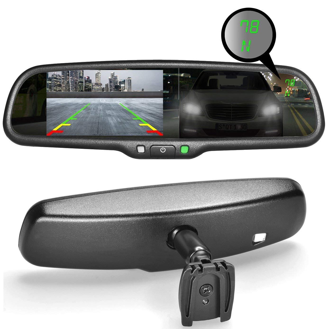 Master Tailgaters MR-43-A2DTC OEM Rear View Mirror with Ultra Bright 4.3' Auto Adjusting Brightness LCD Plus Auto Dimming Mirror Plus Compass MDDNR