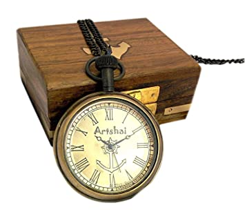 19d7cb2ac Buy Artshai Anchor Design Antique Look Pocket Watch Wooden Box. Long Chain  Online at Low Prices in India - Amazon.in