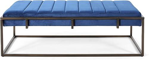 Great Deal Furniture Vassy Glam Velvet Ottoman Bench