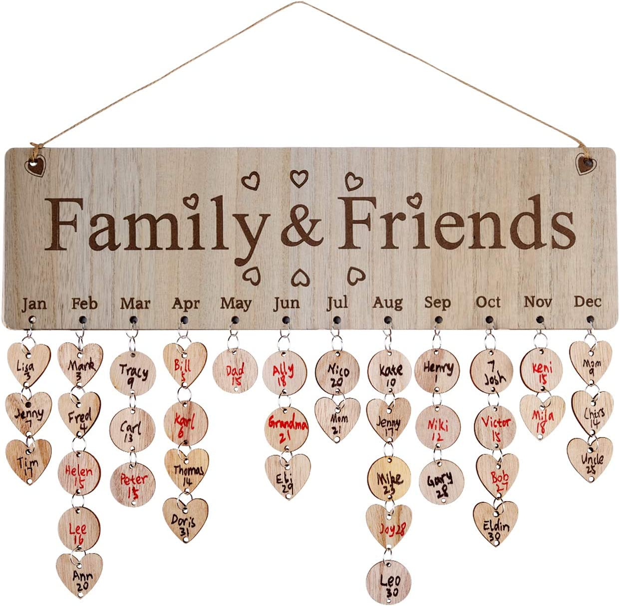 Joy-Leo Gifts for Mom Dad Grandma Grandpa - DIY Wooden Family Birthday Tracker Plaque Wall Hanging, with 100 Tags Keep Track Birthdays of All Kids Grandkids Daughters Sons, Laser Engraved, Model JL05