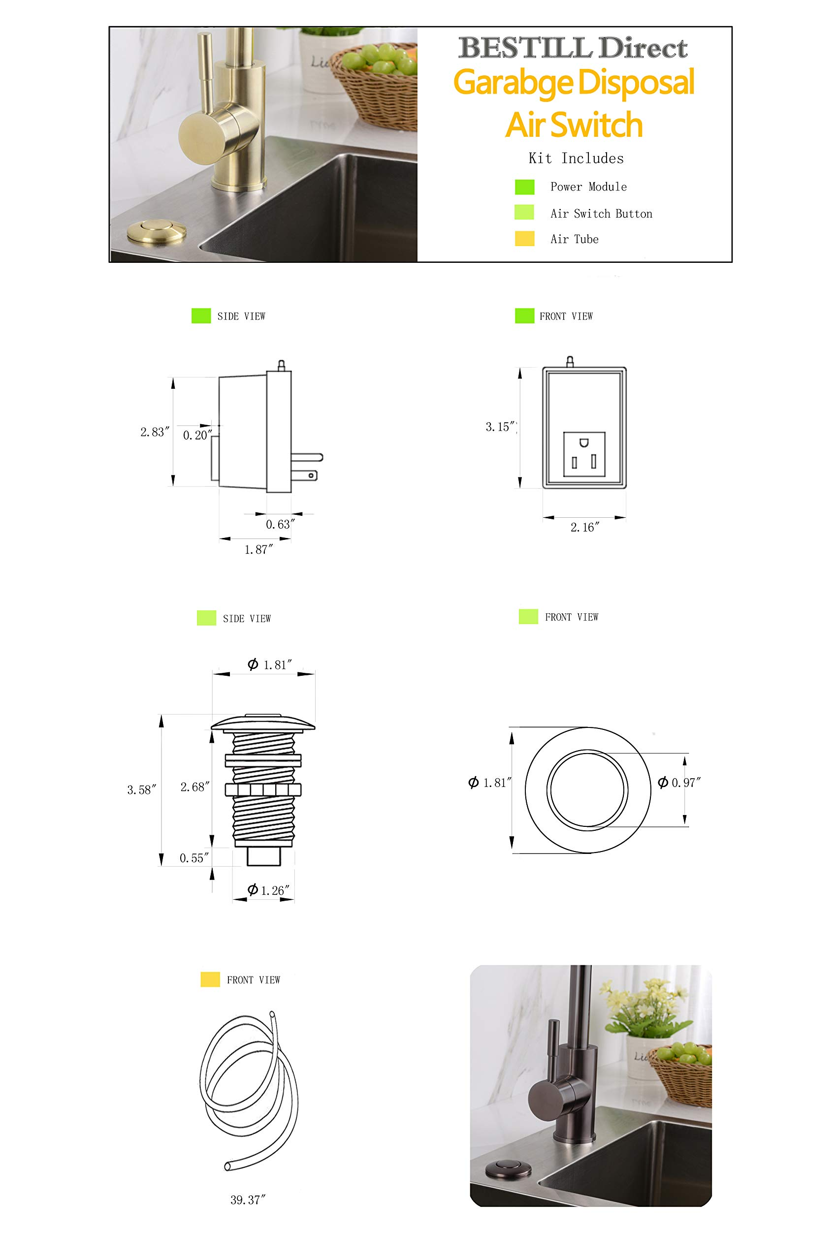 BESTILL Garbage Disposal Sink Top Air Switch Kit with Single Outlet, Brushed Nickel by BESTILL (Image #7)