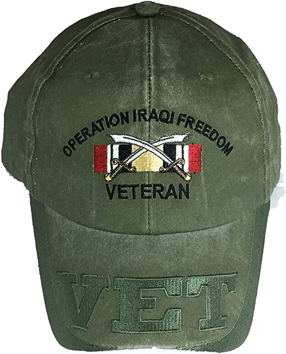 10bb866a Amazon.com: OPERATION IRAQI FREEDOM OIF VETERAN W/ RIBBON Direct  Embroidered Hat - Color - Veteran Owned Business: Clothing