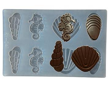 FOUR-C de silicona moldes para Chocolate diseño de figuras en forma de hoja para Chocolate para Color translúcido: Amazon.es: Hogar