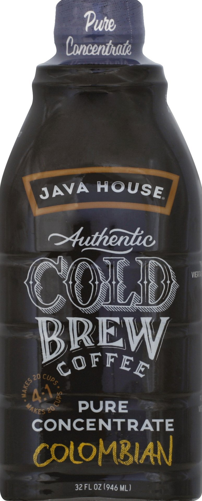 JAVA HOUSE Authentic Cold Brew Colombian Black 4:1 Concentrate 32 Ounce